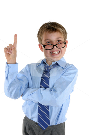I've got the solution stock photo, A smiling confident child or student with an answer or solution by Leah-Anne Thompson