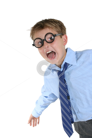 Crazy Boy wearing wacky glasses having fun stock photo, Wacky geeky child full of energy by Leah-Anne Thompson