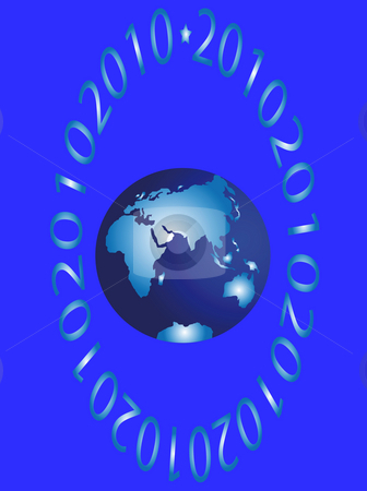 The east hemisphere stock photo, The east hemisphere and figures on blue background by Alina Starchenko