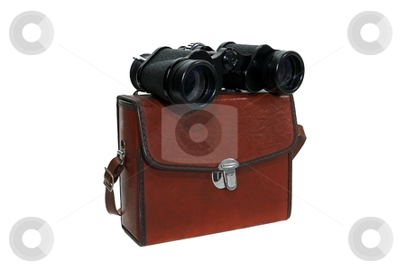 Binoculars stock photo, Binoculars with brown case isolated by Jack Schiffer