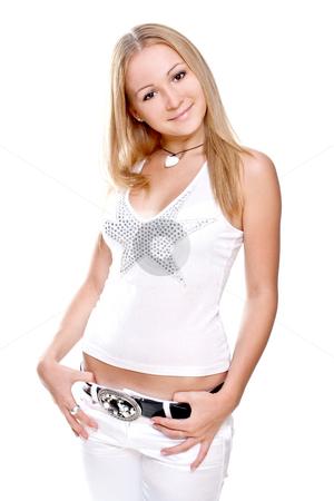 Beautiful women in a shirt stock photo, Beautiful women in a shirt on a white background by Artem Zamula