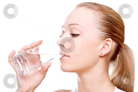 Beautiful woman drinking water stock photo, Beautiful woman drinking water on a white background by Artem Zamula