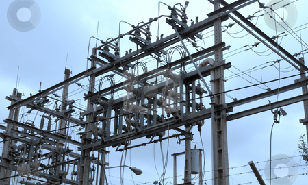 Electric substation stock photo, Substation of electric transformers by Nataliya Taratunina