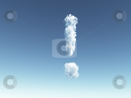 Attention stock photo, Clouds forms  exclamation mark- 3d illustration by J?