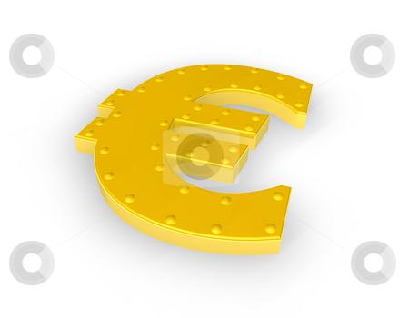 Golden euro sign stock photo, Golden euro symbol on white background - 3d illustration by J?