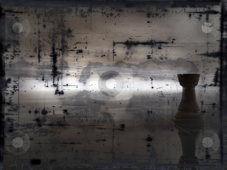 Chess stock photo, Chess rook on grunge background - illustration by J?