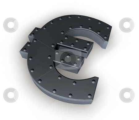 Safety stock photo, Metal euro symbol on white background - 3d illustration by J?