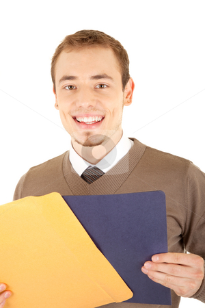 Young well-dressed smiling man with envelop and file stock photo, Young well-dressed smiling man in formalwear is holding a yellow envelope and blue file for documents. Isolated on white background. by Iryna Rasko