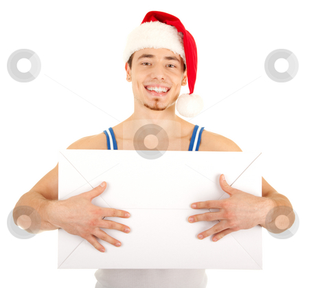 Handsome man has a present for you stock photo, Young handsome smiling man in red Christmas hat with big white carton box. Isolated on white background. Focus on eyes. by Iryna Rasko