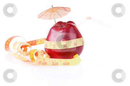 Diet for thin waist as 60 cm stock photo, Red apple with tube and umbrella is measure by type with 60 by Iryna Rasko