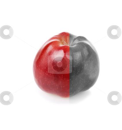 Fresh apple with red and decolourized half stock photo, Fresh apple with contrast red and green half by Iryna Rasko