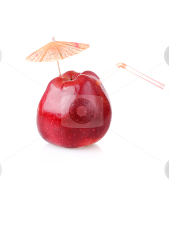 Time to drink fresh apple juice stock photo, Red apple with cocktail tube and umbrella by Iryna Rasko