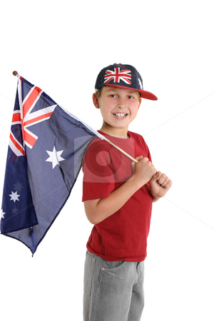 Patriotic child holding an aussie flag stock photo, Happy young boy holding an Australian flag and wearing an Australian hat. by Leah-Anne Thompson