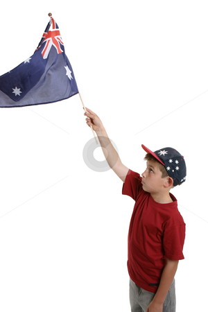 Child waving Australian flag stock photo, Patriotic child waving the Australian flag by Leah-Anne Thompson