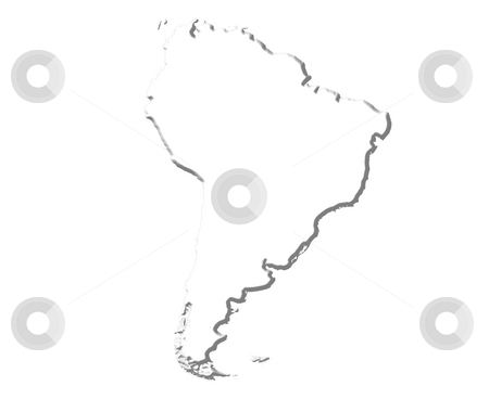 South America 3D White Map stock photo, South America 3d white map isolated in white by Georgios Kollidas