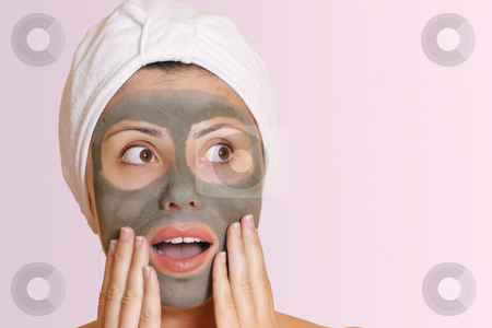 Female in bauty mask with surprised expression stock photo, Woman in mask with surprised expression.Oh no, my date is here already!  Oh my, thats cheap! by Leah-Anne Thompson