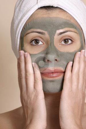 Beauty seaweed beauty mask stock photo, Beautiful girl wearing a purifying beauty mask on her face. by Leah-Anne Thompson