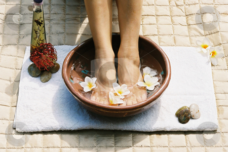 Aromatherapy footsoak stock photo, Beauty treatment
