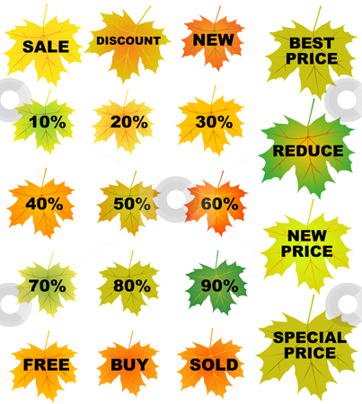 Autumn leaves price tags stock vector clipart, Set of autumn leaves price tags by Vadim Pats