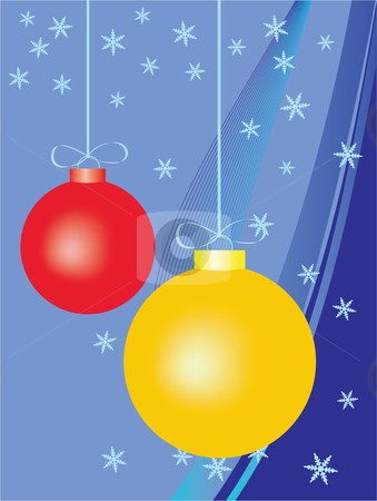 Colorful christmas background stock vector clipart, Colorful christmas background, with red and yellow balls by Vadim Pats