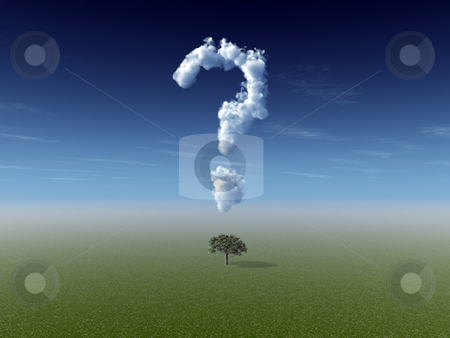 Nature question stock photo, Clouds makes a question mark in the sky  and a lonely tree - 3d illustration by J?