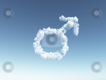 Male stock photo, Clouds make the shape of male symbol - 3d illustration by J?