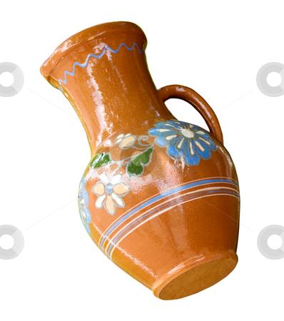Traditional Slavonic ceramic jug stock photo, Traditional ornate by flowers Slavonic ceramic jug by Iryna Rasko