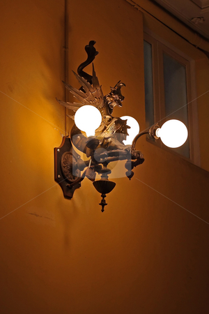 Old lamp stock photo, A beautiful old lamp from Barcelona by ARPAD RADOCZY
