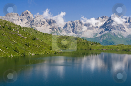 Lake Cavia stock photo, Summer view of lake Cavia near San Pellegrino pass, Trentino, Italy by ANTONIO SCARPI