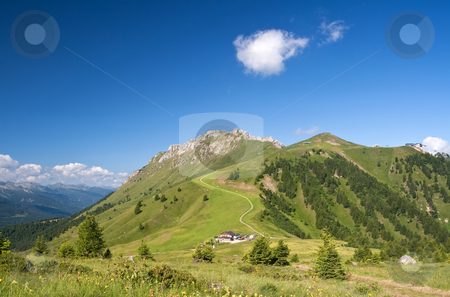 Passo Lusia stock photo, Summer view of Lusia pass, in val di Fassa, Italian dolomites. Photo taken with polarized filter by ANTONIO SCARPI