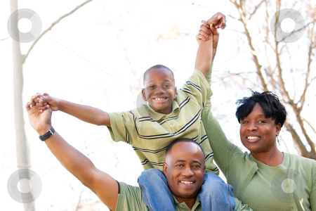 African American Family in the Park stock photo, African American Family Having Fun in the Park. by Andy Dean