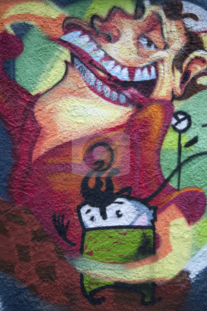 Graffiti  stock photo, Graffiti. Wall painting by Portokalis