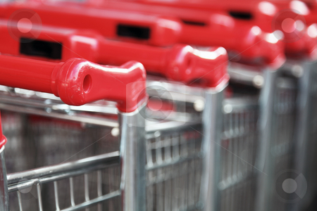 Stacked Shopping Carts  stock photo, Stacked Shopping Carts by Portokalis