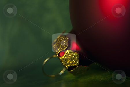 Christmas decorations stock photo, Red christmas bauble by Portokalis
