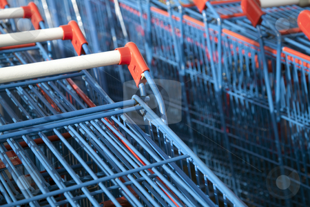 Stacked Shopping Carts  stock photo, Stacked Shopping Carts by Portokalis