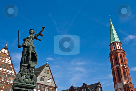 Statue of Lady Justice in Frankfurt stock photo, Statue of Lady Justice in Frankfurt's central square by Interlight