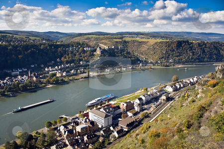 Upper Middle Rhine Valley, World Heritage Site stock photo, St. Goar and St. Goarshausen near Loreley, Upper Middle Rhine Valley, Germany by Interlight