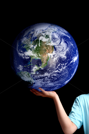 World in the palm of your hands - planet earth stock photo, A person holds balances the earth in the palm of his hand.  Set against a dark background, concept for environment issues, global issues,travel, geopolitical, save the planet, etc.   Or replace the earth with your own object by Leah-Anne Thompson