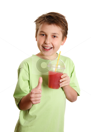 Healthy boy drinking juice thumbs up stock photo, A happy, health conscious boy drinking fresh juice and showing a thumbs up sign. by Leah-Anne Thompson