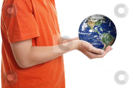 Hands cupping holding our planet Earth stock photo, Two hands cupping gently the world, planet Earth.  Concept, caring for our planet, climate change, environmental conservation,global issues, travel, etc by Leah-Anne Thompson