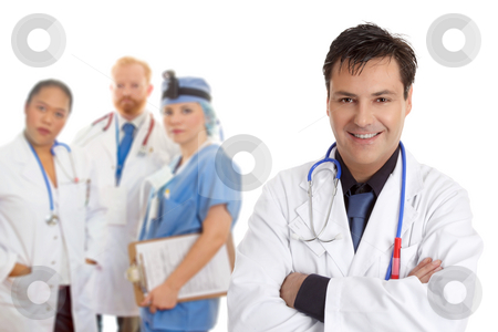 Hospital medical team of doctors and surgeons stock photo, Friendly  caring team of medical doctors, surgeons, healthcare professionals. by Leah-Anne Thompson