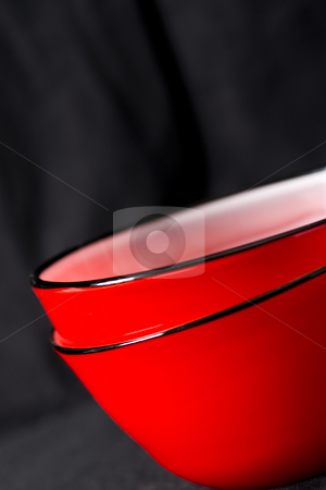 Red bowls on black stock photo, Contemporary design red bowls on a black background by Jodie Johnson