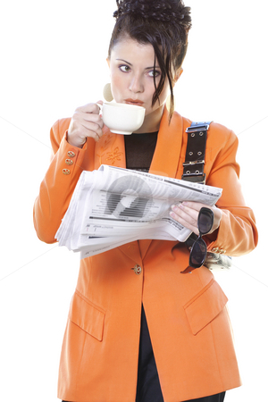 Business breakfast stock photo, Busy woman breakfast on the go by Leah-Anne Thompson