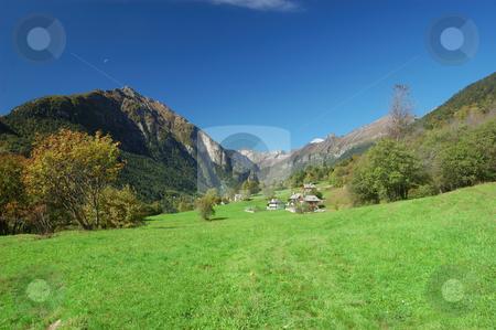 Mountain Village landscape stock photo, Summer landscape of an Italian Alpine Village. by ALESSANDRO TERMIGNONE