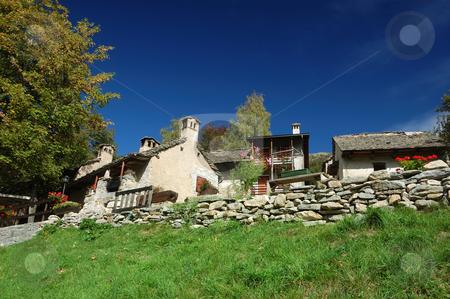 Alpine Village stock photo, Alpine Village view in summer (Piemonte, Italy) by ALESSANDRO TERMIGNONE