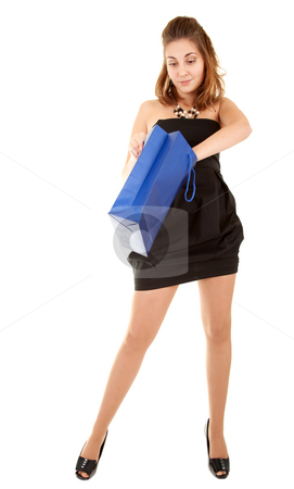 Beautiful women with papper bag  stock photo, Beautiful women in short black dress with blue papper bag try to discover what is inside the bag. by Iryna Rasko