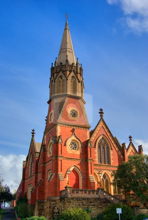 Church at bendigo stock photo, Tall cathedral church at bendigo victoria by Phil Morley