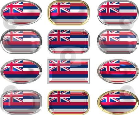 12 buttons of the Flag of Hawaii stock photo, Twelve Great buttons of the Flag of hawaii by Phil Morley