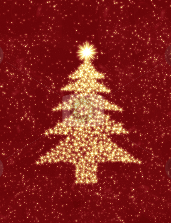 Christmas stars stock photo, Christmas tree made up of stars in the night sky by Phil Morley