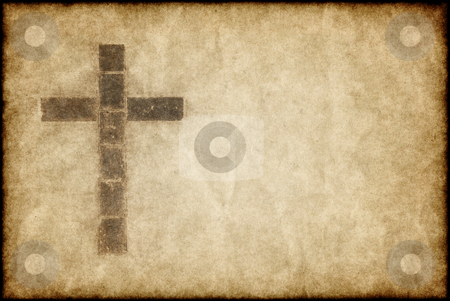 Christian cross on parchment stock photo, Great image of a christian cross on parchment paper by Phil Morley